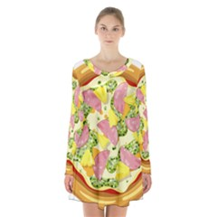 Pizza Clip Art Long Sleeve Velvet V Neck Dress