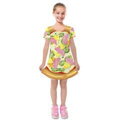 Pizza Clip Art Kids  Short Sleeve Velvet Dress