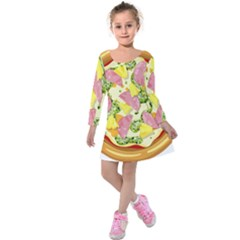 Pizza Clip Art Kids  Long Sleeve Velvet Dress