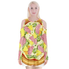 Pizza Clip Art Velvet Long Sleeve Shoulder Cutout Dress