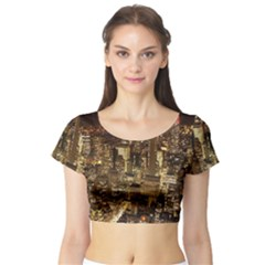New York City At Night Future City Night Short Sleeve Crop Top (tight Fit)