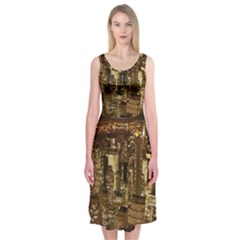 New York City At Night Future City Night Midi Sleeveless Dress