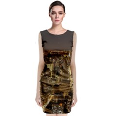 New York City At Night Future City Night Sleeveless Velvet Midi Dress