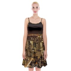 New York City At Night Future City Night Spaghetti Strap Velvet Dress