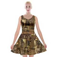 New York City At Night Future City Night Velvet Skater Dress