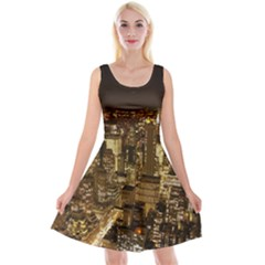 New York City At Night Future City Night Reversible Velvet Sleeveless Dress