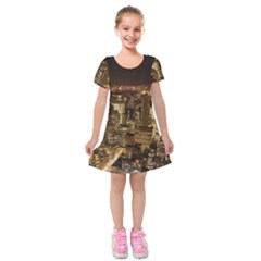 New York City At Night Future City Night Kids  Short Sleeve Velvet Dress