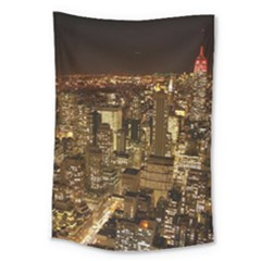 New York City At Night Future City Night Large Tapestry