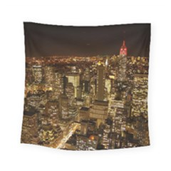 New York City At Night Future City Night Square Tapestry (Small)