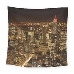 New York City At Night Future City Night Square Tapestry (large)