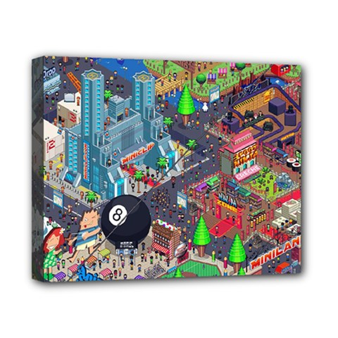 Pixel Art City Canvas 10  x 8