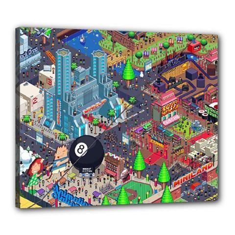 Pixel Art City Canvas 24  x 20