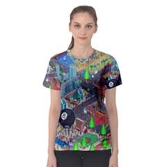 Pixel Art City Women s Sport Mesh Tee