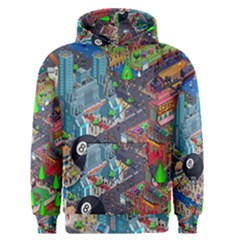 Pixel Art City Men s Pullover Hoodie