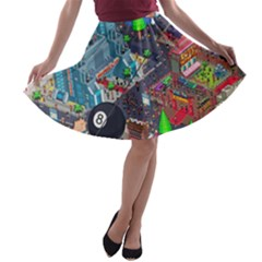 Pixel Art City A-line Skater Skirt