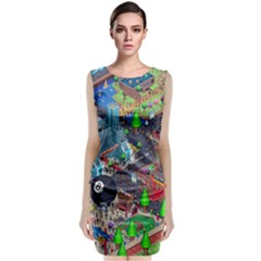 Pixel Art City Sleeveless Velvet Midi Dress
