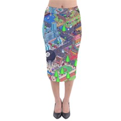 Pixel Art City Velvet Midi Pencil Skirt
