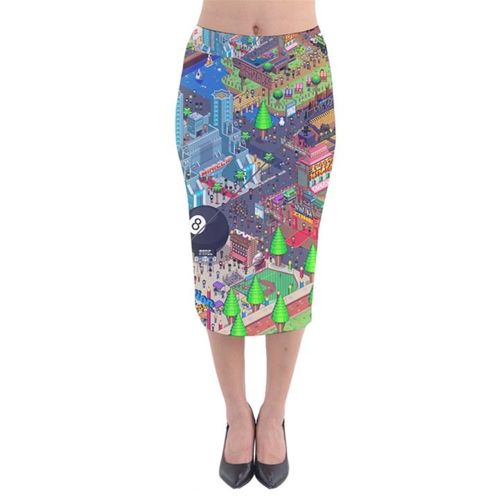 Pixel Art City Velvet Midi Pencil Skirt