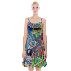 Pixel Art City Spaghetti Strap Velvet Dress