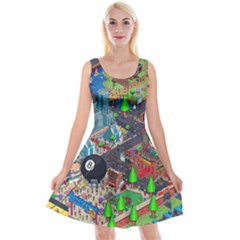 Pixel Art City Reversible Velvet Sleeveless Dress