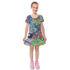 Pixel Art City Kids  Short Sleeve Velvet Dress