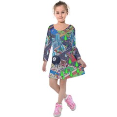 Pixel Art City Kids  Long Sleeve Velvet Dress