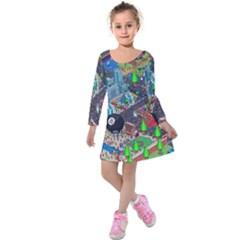Pixel Art City Kids  Long Sleeve Velvet Dress