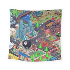 Pixel Art City Square Tapestry (small)