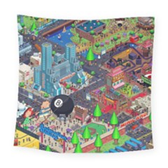 Pixel Art City Square Tapestry (Large)
