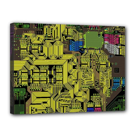 Technology Circuit Board Canvas 16  X 12