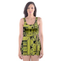 Technology Circuit Board Skater Dress Swimsuit