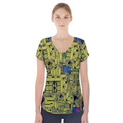 Technology Circuit Board Short Sleeve Front Detail Top