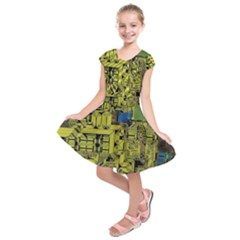 Technology Circuit Board Kids  Short Sleeve Dress