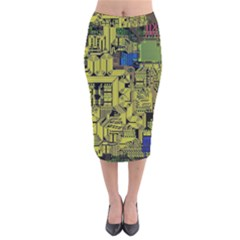 Technology Circuit Board Velvet Midi Pencil Skirt