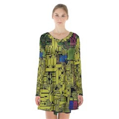 Technology Circuit Board Long Sleeve Velvet V Neck Dress