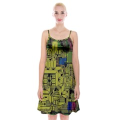 Technology Circuit Board Spaghetti Strap Velvet Dress