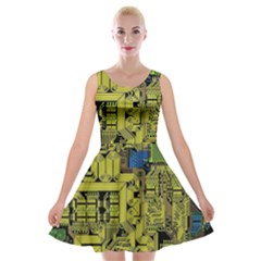 Technology Circuit Board Velvet Skater Dress