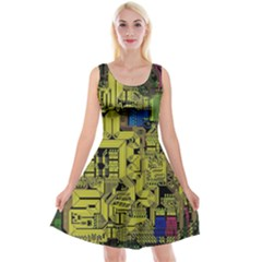 Technology Circuit Board Reversible Velvet Sleeveless Dress