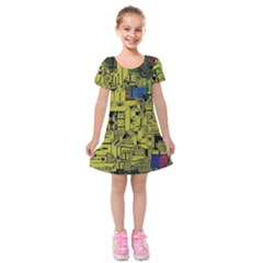 Technology Circuit Board Kids  Short Sleeve Velvet Dress
