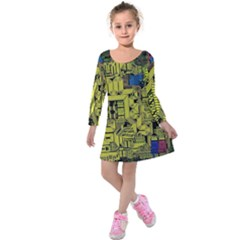 Technology Circuit Board Kids  Long Sleeve Velvet Dress