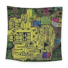 Technology Circuit Board Square Tapestry (Large)
