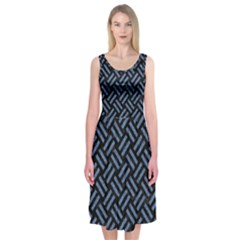 WOV2 BK-MRBL BL-LTHR Midi Sleeveless Dress