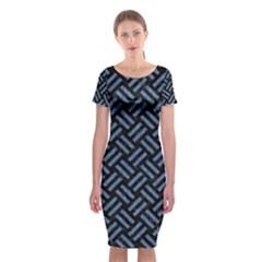 WOV2 BK-MRBL BL-LTHR Classic Short Sleeve Midi Dress