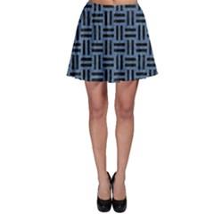 WOV1 BK-MRBL BL-LTHR (R) Skater Skirt