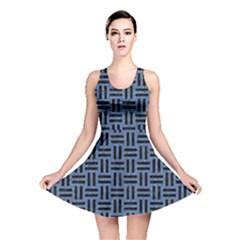 WOV1 BK-MRBL BL-LTHR (R) Reversible Skater Dress