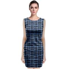 WOV1 BK-MRBL BL-LTHR (R) Classic Sleeveless Midi Dress