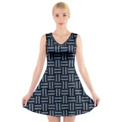 WOV1 BK-MRBL BL-LTHR V-Neck Sleeveless Skater Dress