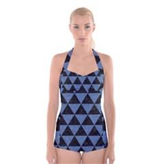 TRI3 BK-MRBL BL-LTHR Boyleg Halter Swimsuit