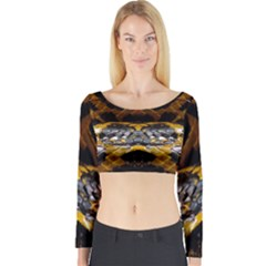Textures Snake Skin Patterns Long Sleeve Crop Top