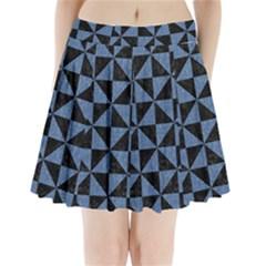 TRI1 BK-MRBL BL-LTHR Pleated Mini Skirt